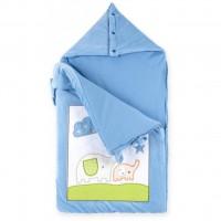 Спальный конверт Luvena Fortuna голубой многофункциональный с рисунком слоненка (G8989)