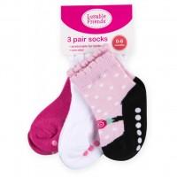 Носки Luvable Friends 3 пары нескользящие, для девочек (23080.12-24 F)