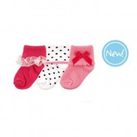 Носки Luvable Friends 3 пары для девочек, розовые (23150.12-24)