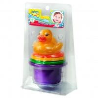Игрушка для ванной BeBeLino Пирамидка-стаканчики с брызгалкой для ванной Утенок (57110)
