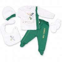 Набор детской одежды Bibaby 5 шт для мальчиков, с мельничкой белый-зеленый (62055-0-3mm/B-green-white)
