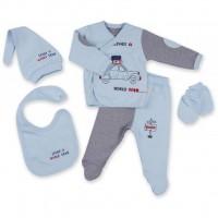 Набор детской одежды Bibaby 5 шт для мальчиков, с машинкой голубой (62052-0-3mm/B-blue)