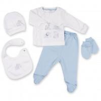 Набор детской одежды Bibaby 5 шт для мальчиков, со слоником кремовый-голубой (62041-0-3mm/B-blue-beige)
