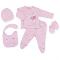 Набор детской одежды Bibaby 5 шт для девочек, с зайчиком розовый (62051-0-3m/G-pink)