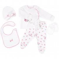 Набор детской одежды Bibaby 5 шт для девочек, с цветочками кремовый-розовый (62038-0-3m/G-beige and pink)