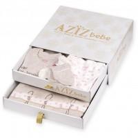 Набор детской одежды Aziz бежевый подарочный 10 предметов (010036-0-3m/G-cream)