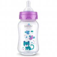 Бутылочка для кормления BAYBY 250 мл 0 мес+ фиолетовый (BFB6103)