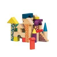 Деревянные кубики Battat ЕЛОВЫЙ ДОМИК (40 деталей, в сумочке)