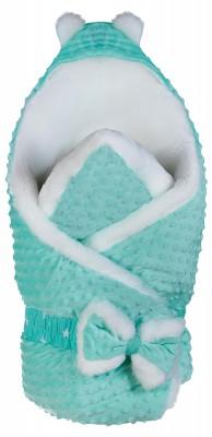 Конверт-одеяло плюш-мутон Babyroom бирюзовый - белый