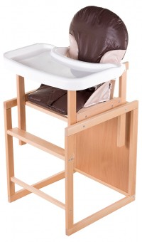 Стульчик для кормления For Kids Трансформер С Пластиковой Столешницей, Бук Светлый светлое дерево, шоколад