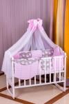Постель Babyroom Бортики, 8 Элем. (100% Хлопок) Розовый - Серый (Совы)