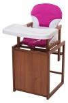Стульчик для кормления For Kids Трансформер С Пластиковой Столешницей, Бук Темный темное дерево, малиновый
